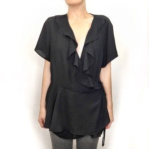 Forever 21 black crepe ruffle v-neck front blouse